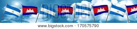 nicaragua flag with Cambodia flag, 3D rendering
