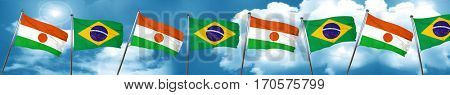 niger flag with Brazil flag, 3D rendering