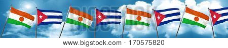niger flag with cuba flag, 3D rendering