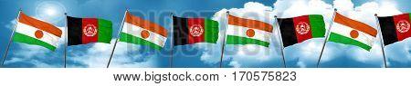 niger flag with afghanistan flag, 3D rendering