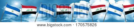 nicaragua flag with Iraq flag, 3D rendering