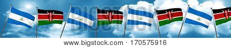 nicaragua flag with Kenya flag, 3D rendering