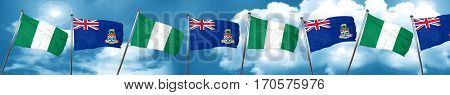 Nigeria flag with Cayman islands flag, 3D rendering
