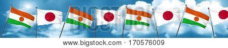 niger flag with Japan flag, 3D rendering