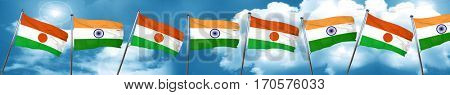 niger flag with India flag, 3D rendering