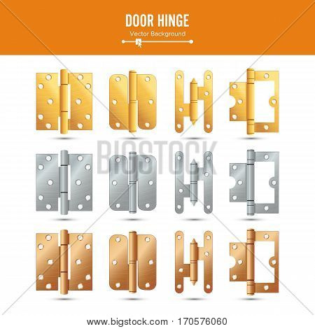 Door Hinge Vector. Set Classic And Industrial Ironmongery Isolated On White Background. Simple Entry Door Metal Hinge Icon. Stainless Steel, Copper, Bronze, Gold, Brass. Stock Illustration.