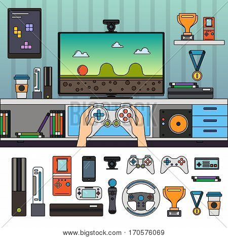 Gamer room with different gadgets and other tools. Technology and modern life concept. Computer, headphones, joystick, medals isolated on white background. Thin line flat design