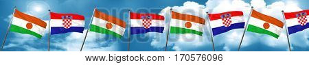 niger flag with Croatia flag, 3D rendering
