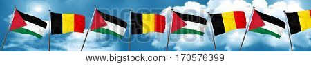 palestine flag with Belgium flag, 3D rendering