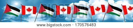 palestine flag with Canada flag, 3D rendering