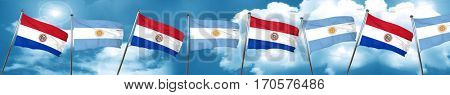 Paraguay flag with Argentine flag, 3D rendering