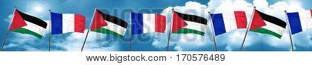 palestine flag with France flag, 3D rendering