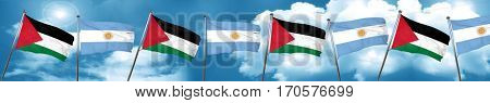 palestine flag with Argentine flag, 3D rendering