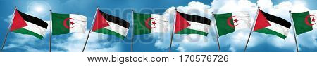 palestine flag with Algeria flag, 3D rendering