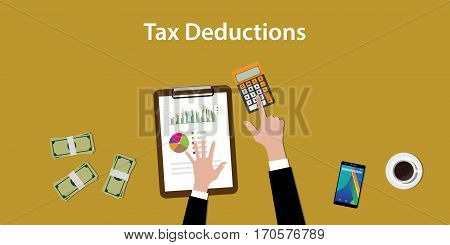 illustration of working to count a tax deductions calculation with paperworks and calculator on top of table vector