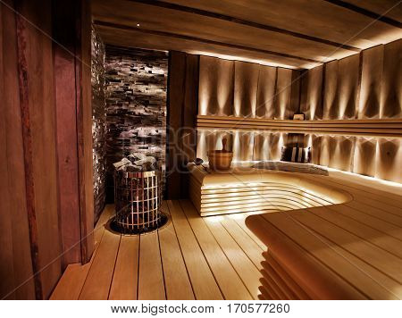 Traditional finnish sauna made from wood
