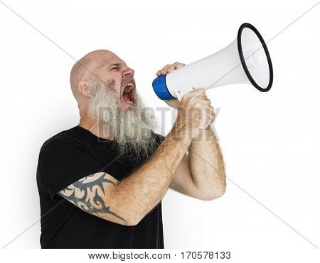 Bearded Caucasian Man Shouting Megaphone