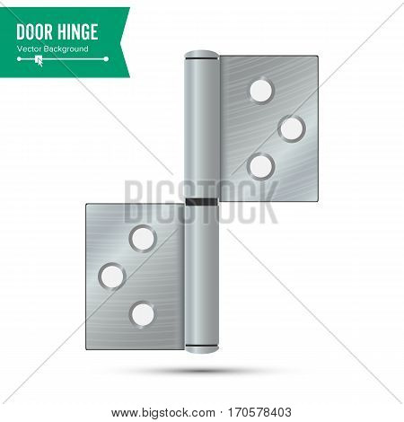 Door Hinge Vector. Classic And Industrial Ironmongery Isolated On White Background. Simple Entry Door Metal Hinge Icon. Stainless Steel. Stock Illustration.