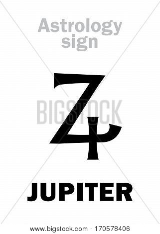 Astrology Alphabet: JUPITER (Zeus), classic major social planet. Hieroglyphics character sign (single symbol).