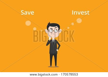Comparing benefits between save or invest to make decision illustration with a white bubble text vector