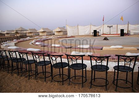 Arrangements of seats at Rajasthani Cultural Programs at Oasis Camp Sam Sand Dunes Jaisalmer Rajasthan India Asia