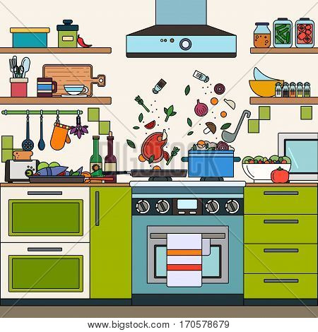 Thin line flat design of the cooking at home. Eating concept, Kitchen with modern furniture, products on the shelves, soup is boiling and eggs are frying on the stove
