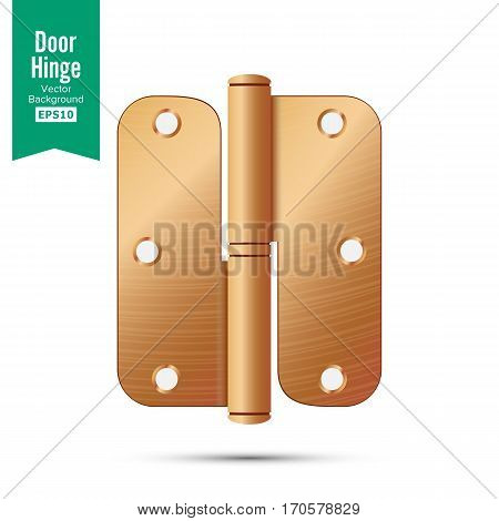 Door Hinge Vector. Classic And Industrial Ironmongery Isolated On White Background. Simple Entry Door Metal Hinge Icon. Copper, Bronze. Stock Illustration.