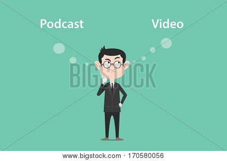 thinking about the difference of podcast vs video illustration with a white bubble text vector