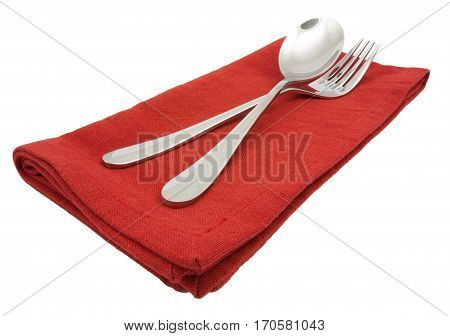 Photo Silverware Fork Napkin  Isolated