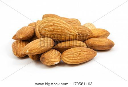 Beautiful group of almonds isolated on white