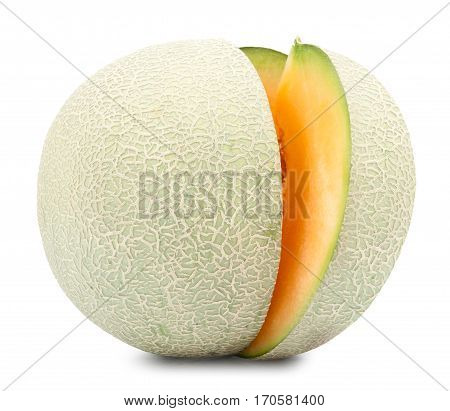 Beautiful Orange cantaloupe melon isolated on white