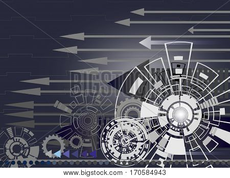 Hi-tech digital technology and engineering with gear wheel on circuit board with arrow digital telecoms technology concept Abstract futuristic- technology on gray color background Vector illustration colorful.