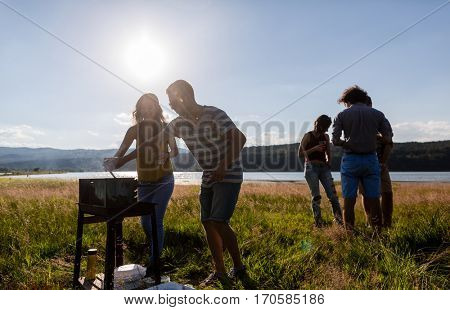 Young people making Barbecue at lakeside meadow, men and women
