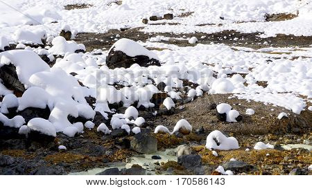 Closeup Stone And Snow In The Mist Noboribetsu Onsen