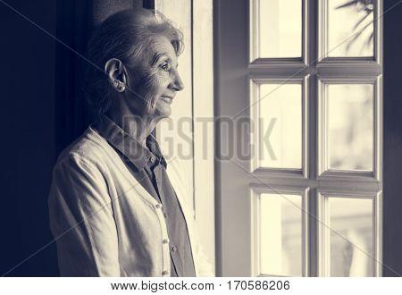 Senior Woman Thoughtful Alone Lifestlye