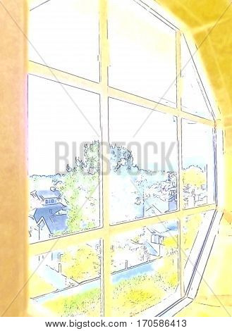 A watercolor view from a window overlooking a peaceful neighborhood.