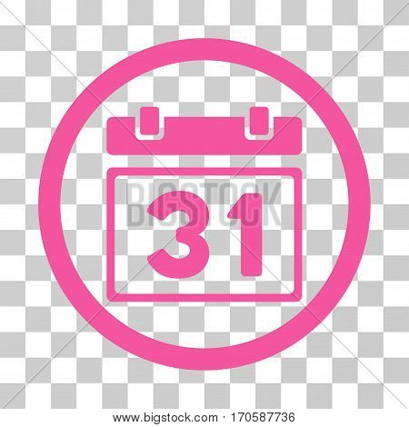 Last Month Day rounded icon. Vector illustration style is a flat iconic symbol inside a circle, pink color, transparent background. Designed for web and software interfaces.