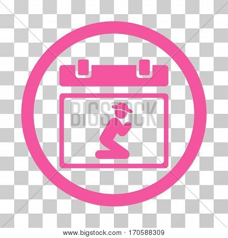 Pray Date rounded icon. Vector illustration style is a flat iconic symbol inside a circle, pink color, transparent background. Designed for web and software interfaces.