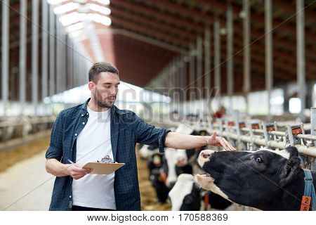 agriculture industry, farming, people and animal husbandry concept - young man or farmer with clipboard and cows in cowshed on dairy farm
