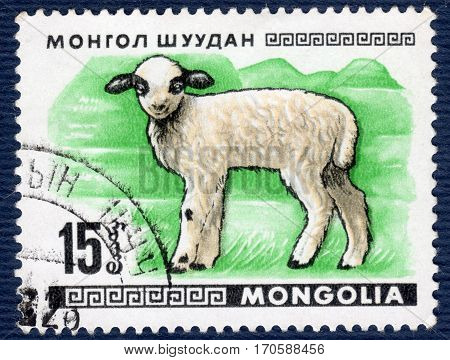 MONGOLIA - CIRCA 1968: Postage stamp printed in Mongolia shows image of a little lamb, from the series