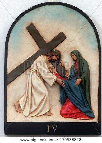 HRVATSKA DUBICA, CROATIA - NOVEMBER 18: 4th Stations of the Cross, Jesus meets His Mother, Parish Church of Holy Trinity in Hrvatska Dubica, Croatia on November 18, 2010.