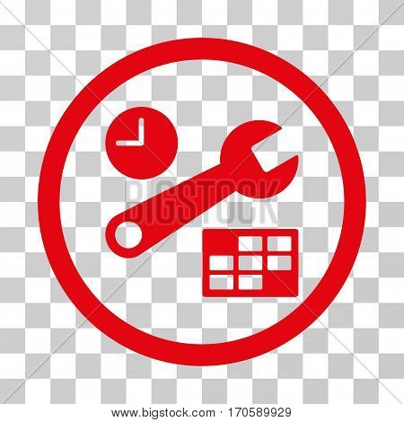 Date And Time Setup rounded icon. Vector illustration style is a flat iconic symbol inside a circle, red color, transparent background. Designed for web and software interfaces.