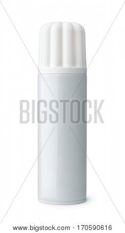 Front view of blank whipped cream can isolated on white