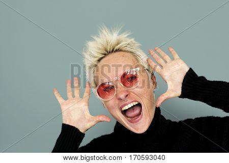 Caucasian Blonde Woman Shouting Positive