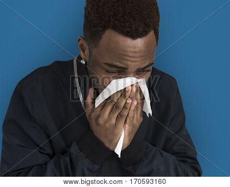 African Descent Man Sick Sad Tissue Paper