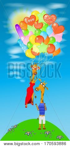 Giraffe With A Lot Of Balloons Fly Away