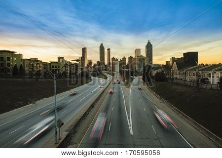 Downtown Atlanta Georgia cityscape at sunset with traffic