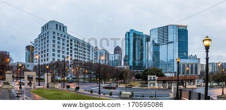 panorama of midtown Atlanta in pre-dawn hours