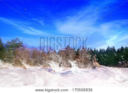 Winter landscape with snowdrifts and blue sky