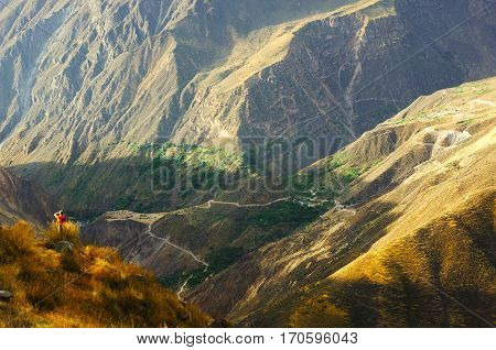 The Colca Canyon in Peru is one of the deepest canyons in the world.